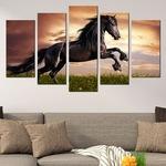 Картина-пано за стена Iwidecor, 5 части,Див кон, Канава от 100% памук върху дървени подрамки, Размер L 158х90 см.