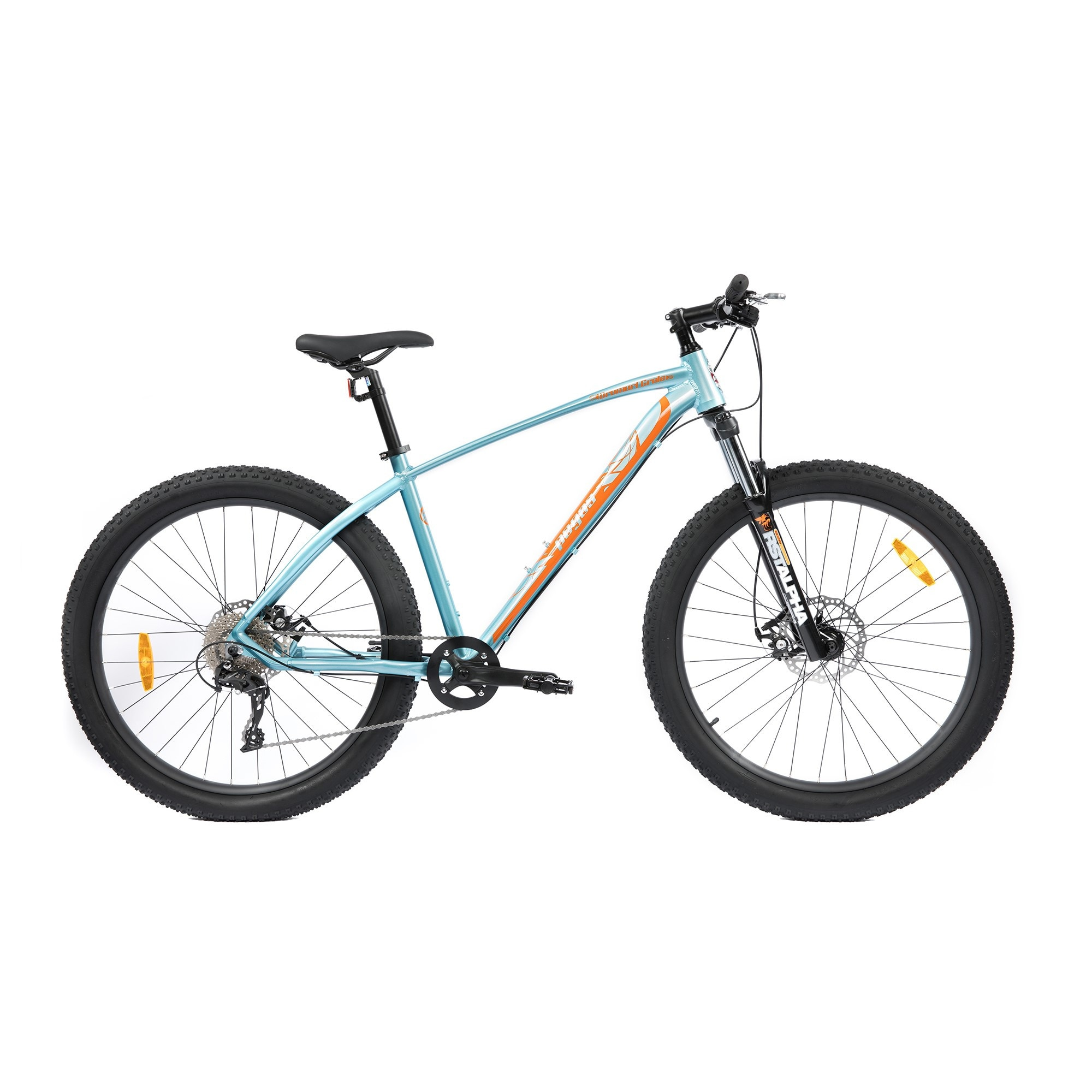"Fotografie Bicicleta Pegas MTB Fat Bike Drumuri Grele 18.5"", Bleu/Portocaliu"