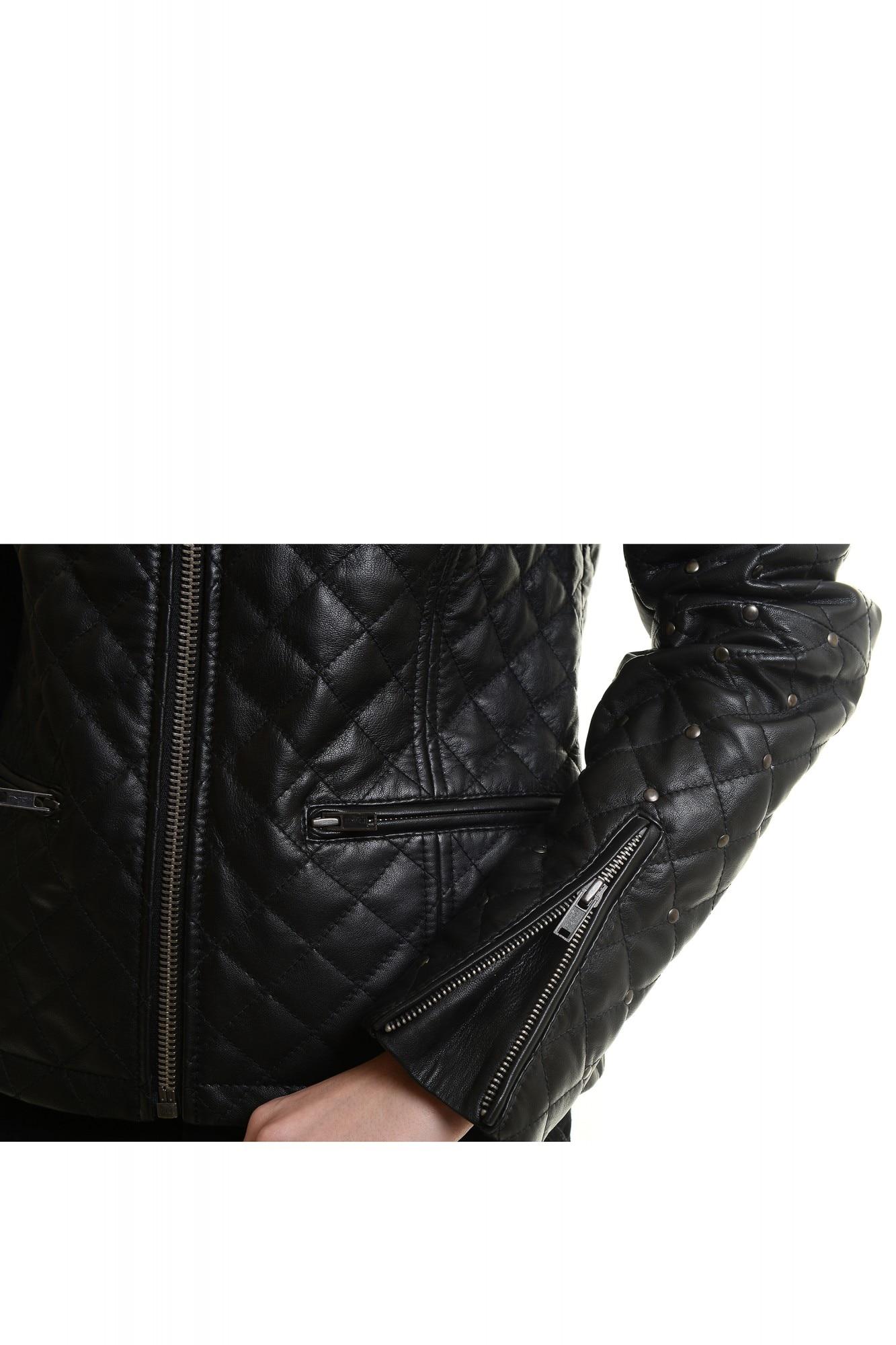 RELEASE női fekete steppelt bőrdzseki fémszegecsekkel
