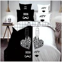 GGT- 7 részes pamut ágyneműhuzat fekete fehér színben szív és pezsgős poharak
