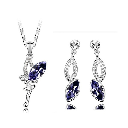 Стилен комплект с колие и обеци Фея от Emily Style с австрийски кристали