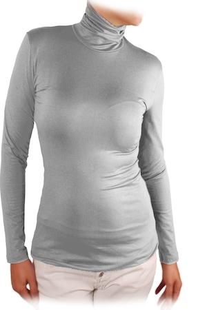 Дамска блуза Ivanel ПОЛО, Дълъг ръкав, Светлосив, Светлосив