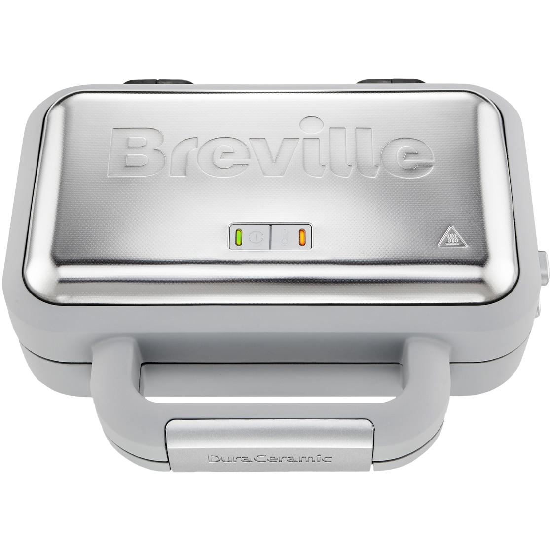 Fotografie Aparat de vafe Breville VST072X-01, 850W, Placi antiaderente Duraceramic, Inox/Alb