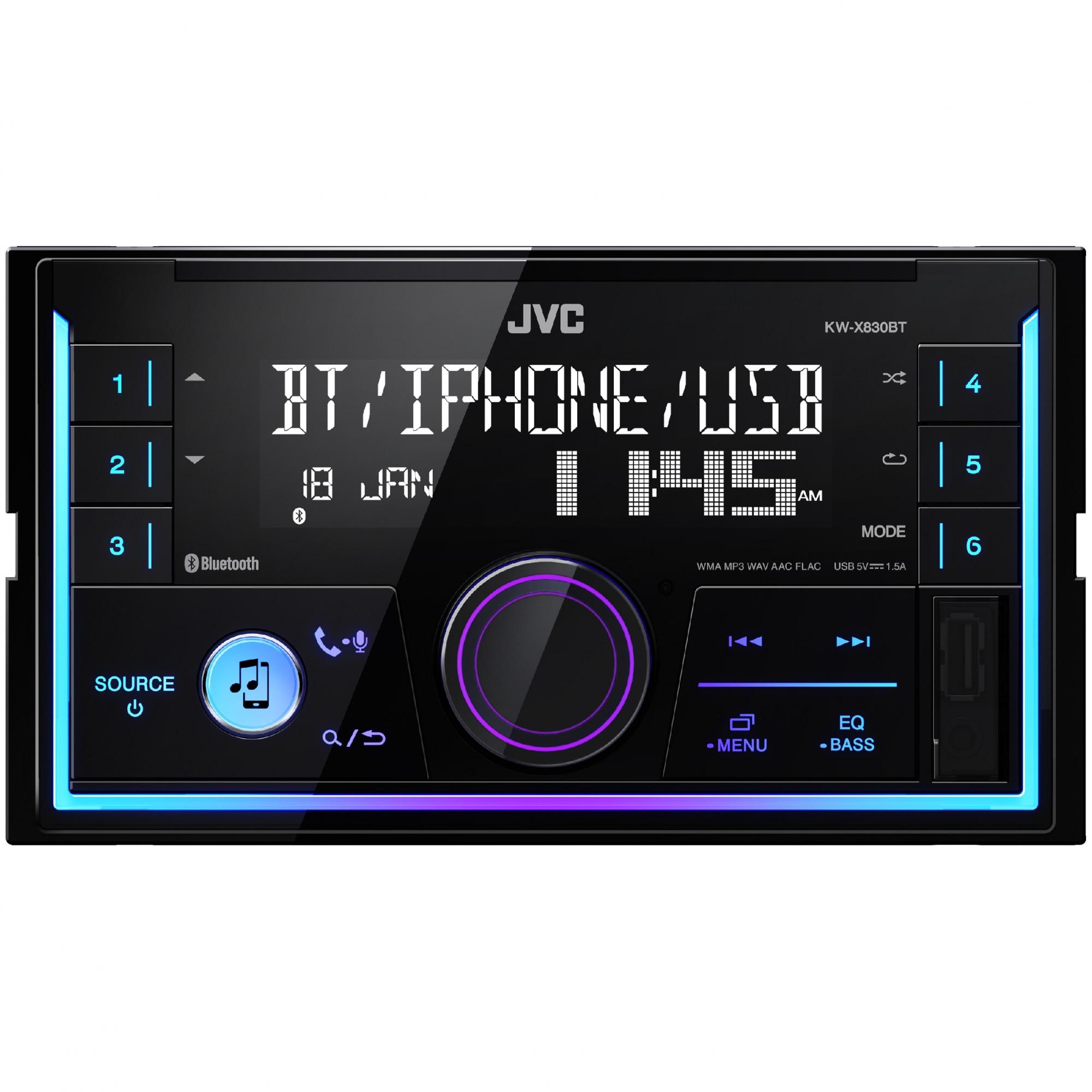 Fotografie Player auto JVC KW-X830BT, 2DIN, 4x50W, USB, AUX, Bluetooth, Culori variabile