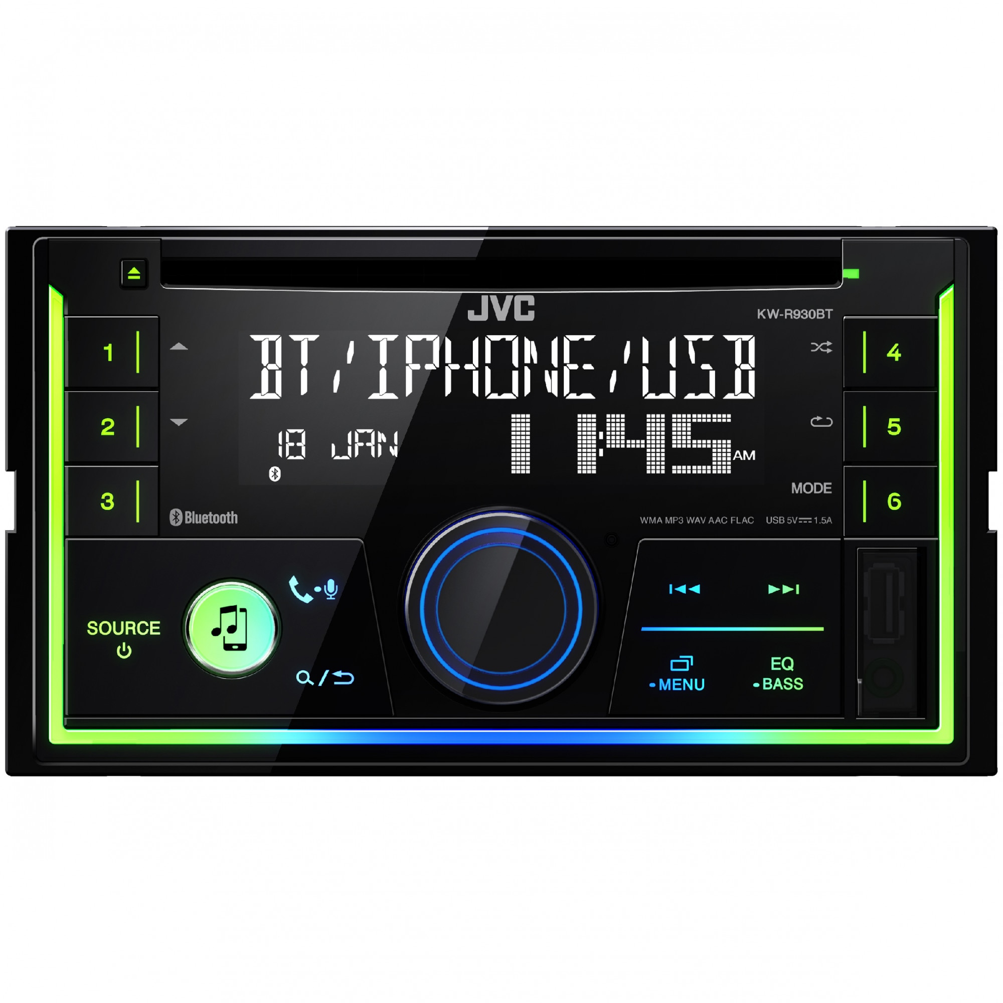 Fotografie Radio CD auto JVC KW-R930BT, 2DIN, 4x50W, USB, AUX, Bluetooth, Subwoofer control, Culori variabile