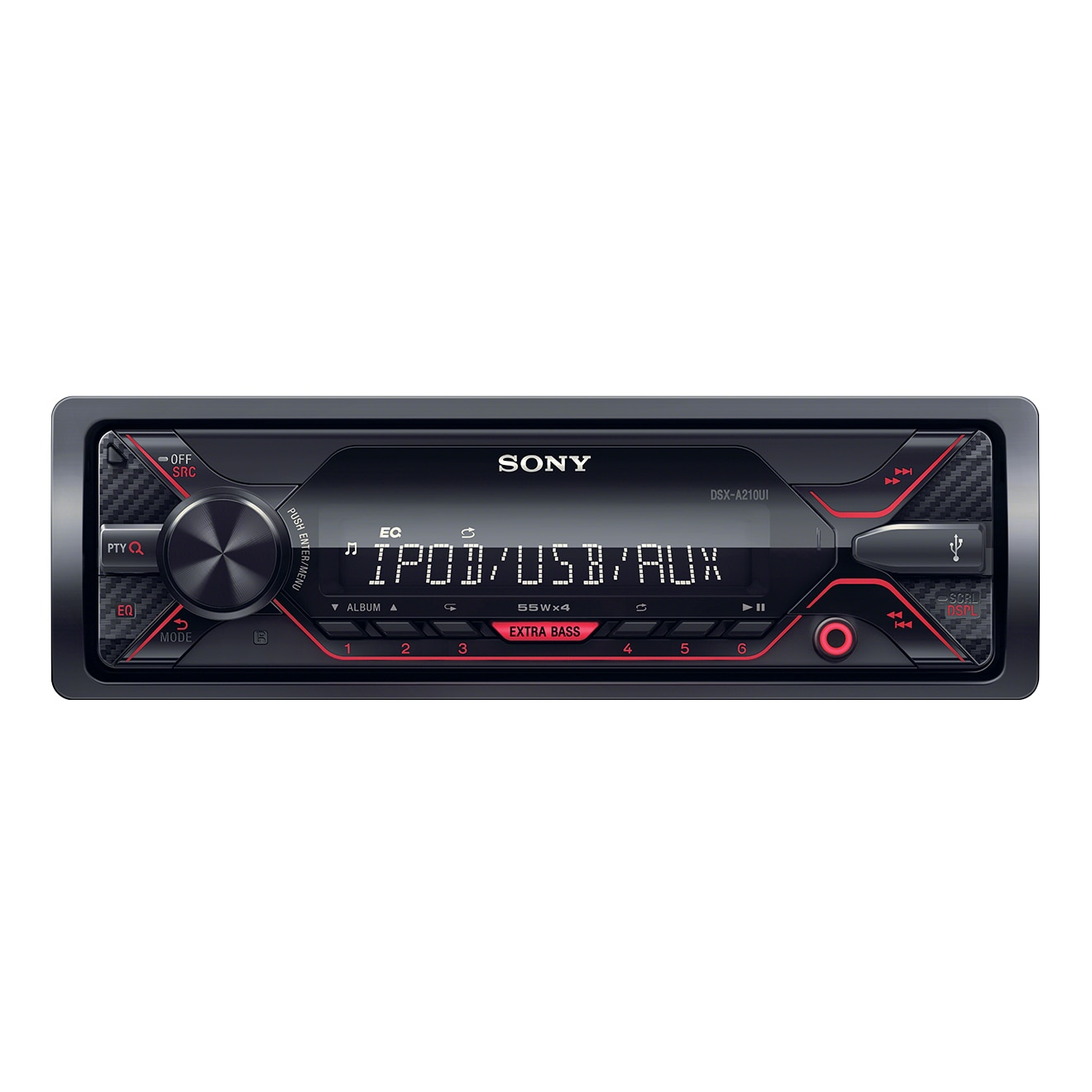 Fotografie Radio MP3 Player auto Sony DSXA210UI, 4 x 55 W, USB, AUX, Rosu