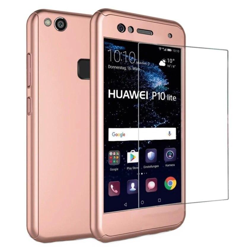 Husa Full Cover (fata spate geam sticla) pentru Huawei P10 Lite, Rose Gold