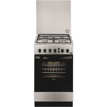 Aragaz Zanussi ZCG212J1XA, 4 Arzatoare, Gaz, Aprindere electrica plita, Grill, Rotisor, 50 cm, Inox
