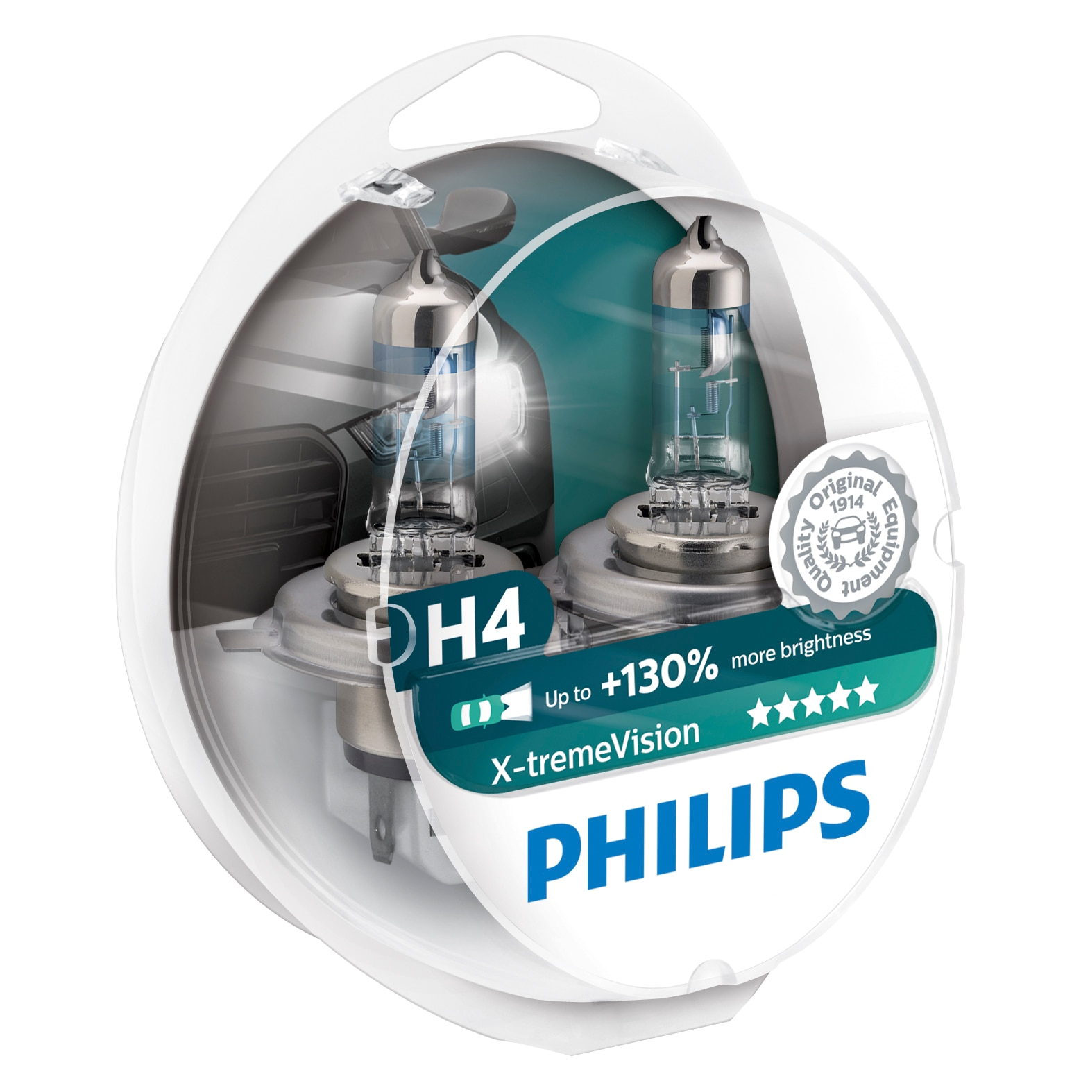 Fotografie Set 2 Becuri auto cu halogen pentru far Philips H4 Xtreme Vision, +130%, 12V, 55W